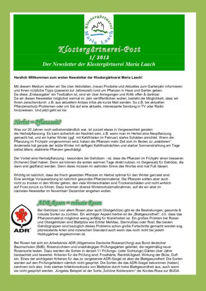 Newsletter Nr. 1/2012 (pdf, 620 KB)