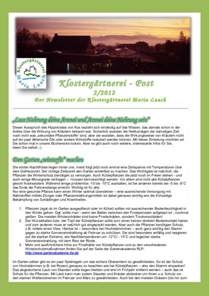 Newsletter Nr. 2/2012 (pdf, 704 KB)